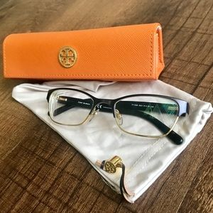 Tory Burch Eyeglasses Black w/ Gold Rims TY 1040